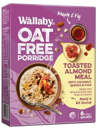 Wallaby Oat Free Porridge Maple Fig Toasted Almond Meal 6 pack