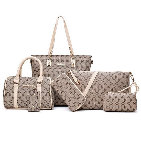 6PCS Women Tote Set Fashion PU Leather Ladies Handbag Shoulder Wallet Bag 2020