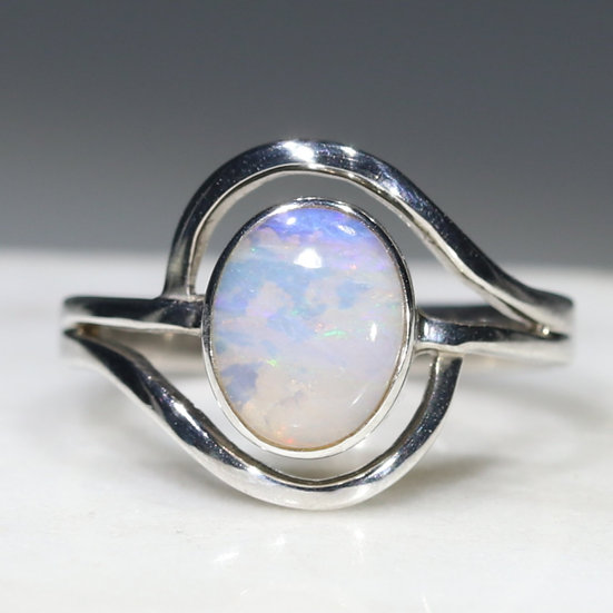 Natural Australian boulder opal silver ring - size 6