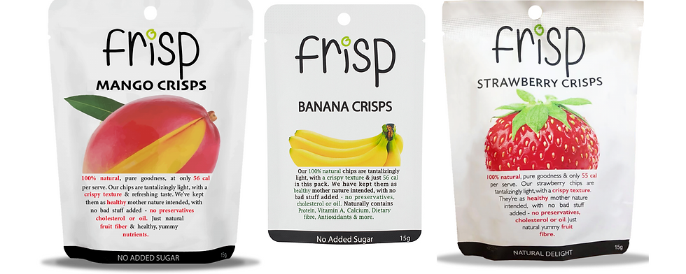 100% Natural Dried Fruit - Mango, Banana, Strawberry 15g x 10 packs each flavour