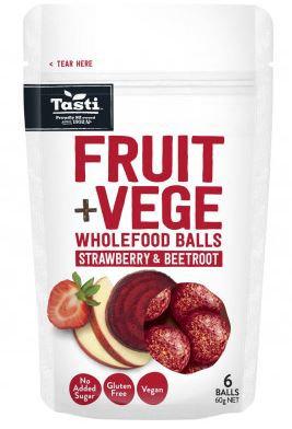 Tasti Fruit & Vege Wholefood Balls Strawberry & Beetroot 60g