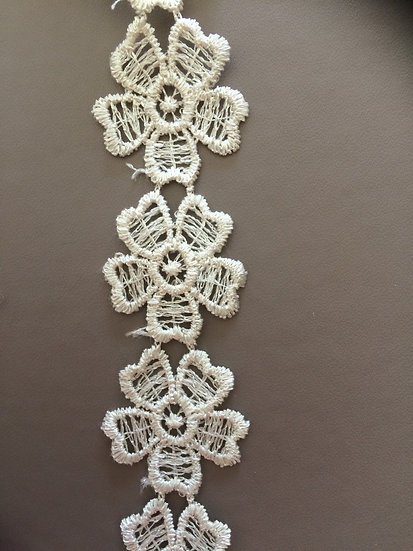 Beige ~ Embroidered Lace Trim Wedding Dress Ribbon Applique Sewing Craft Fabric