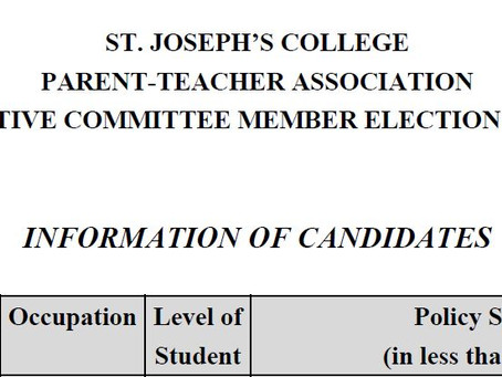The declaration form of the election of PTA Executive Committee