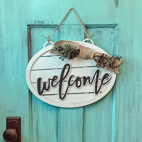 Welcome Shiplap Door Sign