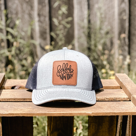 Leather Patch Trucker Hat, $30