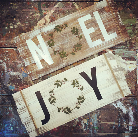 Holiday Plank Signs, $50