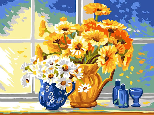 Grafitec Printed Tapestry Yellow White Daisies