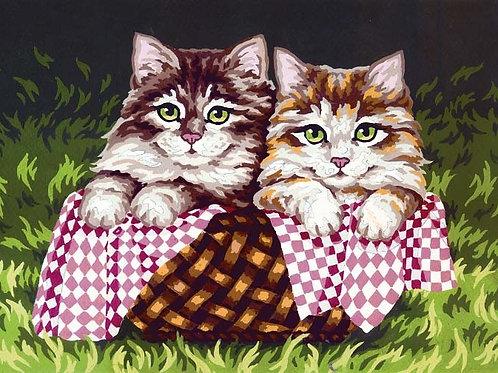 Grafitec Printed Tapestry Kittens in Basket