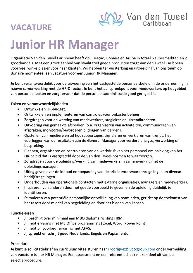 vacature van den tweel supermarkt bonaire - junior HR manager.png
