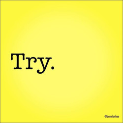 The word for today! Just try--and then try again. Free yourself from false expectations and daunting