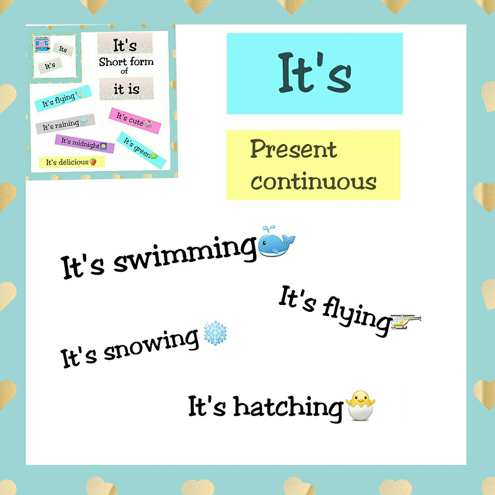 it's swimming present continuous