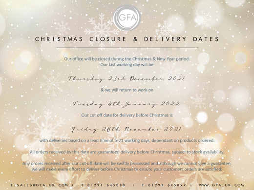 CHRISTMAS CLOSURE & DELIVERY DATES