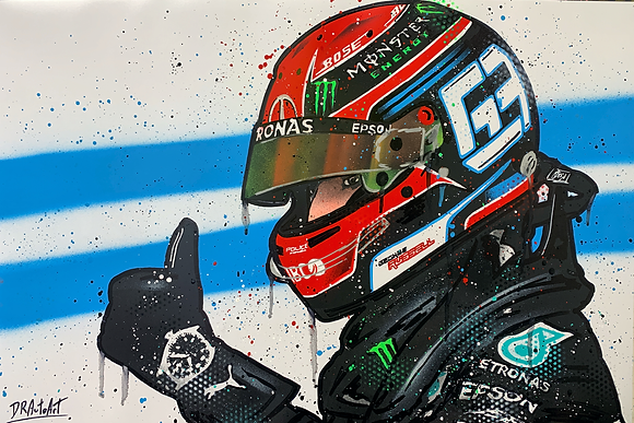 George Russell, Mercedes 2020 - Graffiti Painting