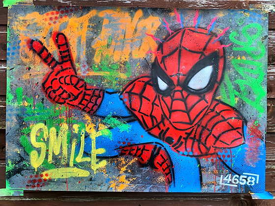 SPIDEY SMILE - One off Graffiti Painting, A1