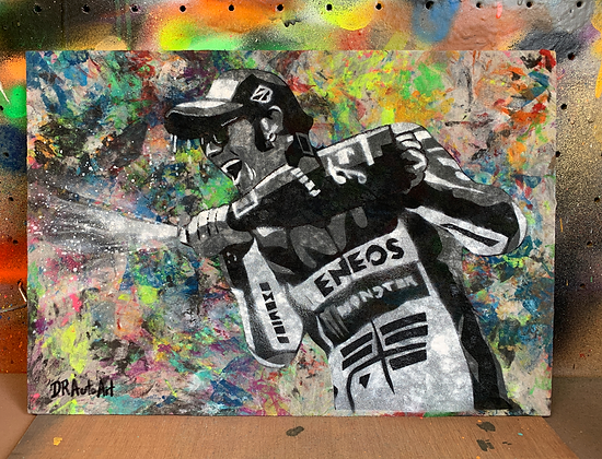 Rossi Podium - Graffiti Painting on Recycled Rag