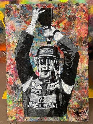 Senna Podium - Graffiti Painting on Recycled Rag