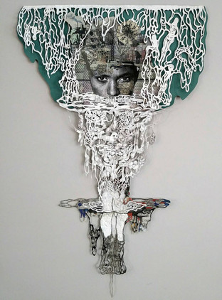 """Assimilation 17""""x27.5"""" Acrylic, ink, newspaper"""