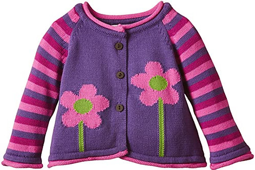 Cardigan tricot fleurs