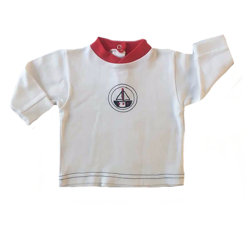 TSHIRT BLANC / ROUGE VOILIER_12M