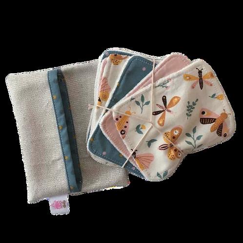 Pochette de 6 lingettes lavables_Papillons
