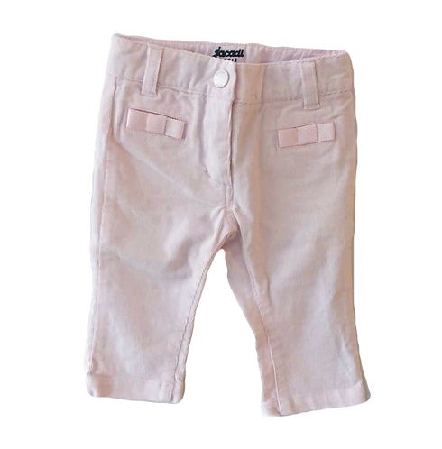 JACADI_PANTALON VELOURS ROSE_6M