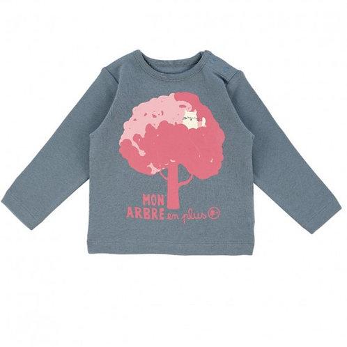 LQDC_T-shirt Bébé Marronier Bleu Ardoise