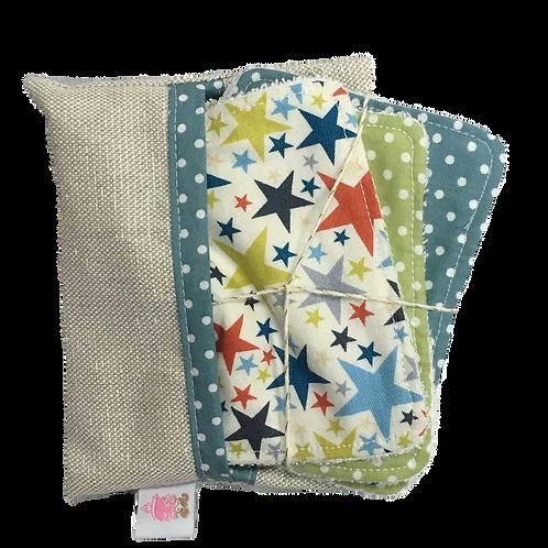 Pochette de 6 lingettes lavables_Stars
