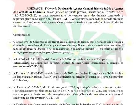 A FENASCE publica Nota com orientações para os ACS e ACE do Brasil para o combate do Coronavírus