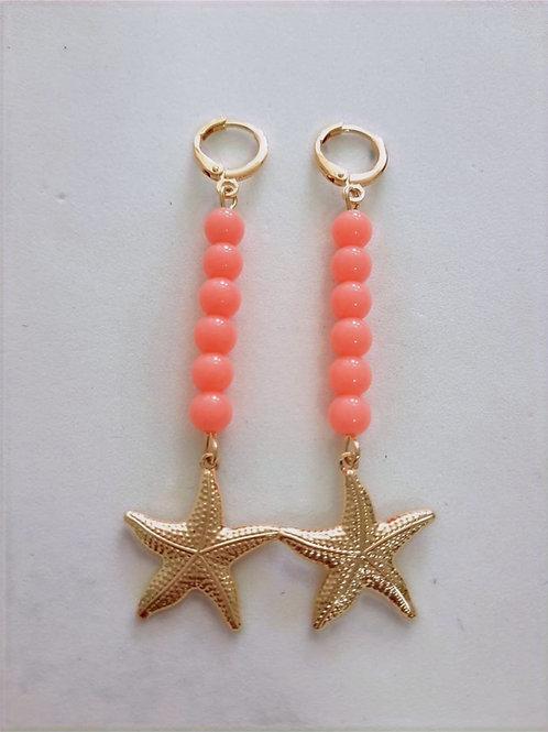 Brinco Argola Charms Bolas Coloridas Laranjas com Estrela do Mar