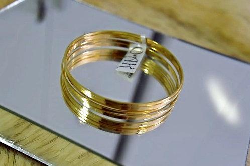 Kit com 5 Pulseiras de Aros Lisos Dourados