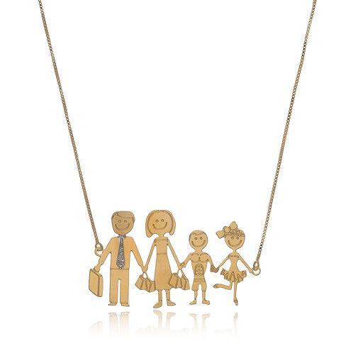 Colar Folheado Personalizado com Formato de Família, detalhe em Ouro Branco