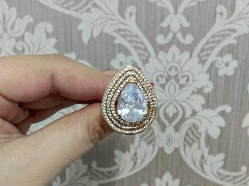 Anel Luxo Gota Cristal com Zircônias Cravejadas