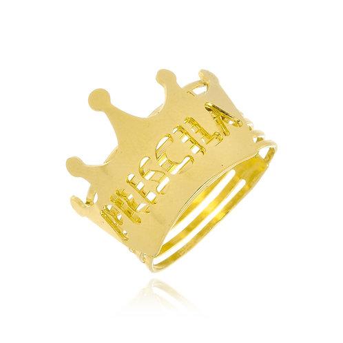 Anel Personalizado em Formato de Coroa e Nome