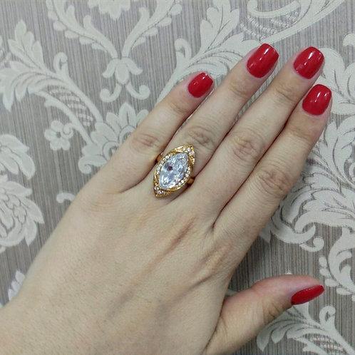 Anel Pedra Navete Cristal com Zircônias Cravejadas