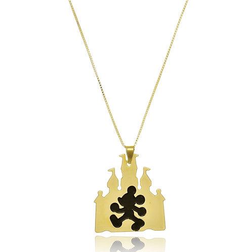 Colar Personalizado com Pingente de Placa em Formato de Castelo com Mickey