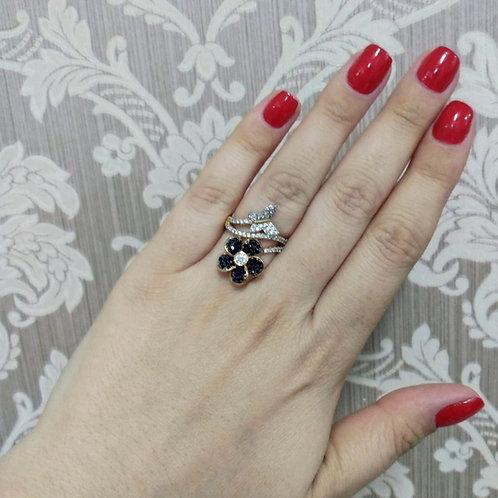 Anel Luxo Flor e Borboleta Cravejadas