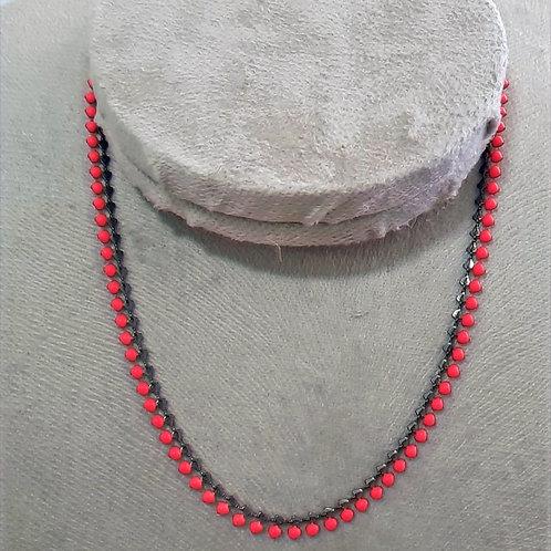 Chocker Banho de Ródio Negro com Bolas Coloridas Rosa Neon