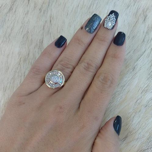 Anel Circular Luxo com Pedraria Cristal