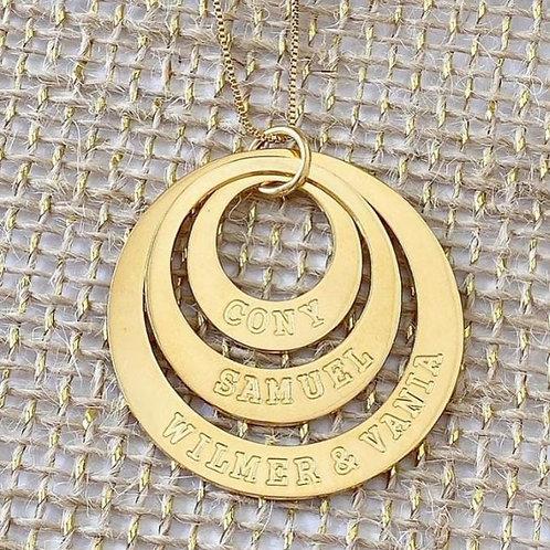 Mandala Aro Triplo Personalizada com Nomes Gravados
