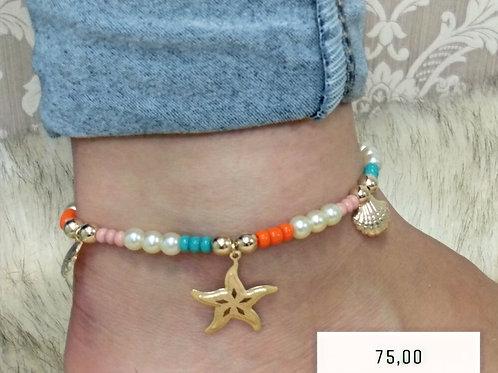 Tornozeleira Colorida Estrela do Mar com Pingentes Dourados