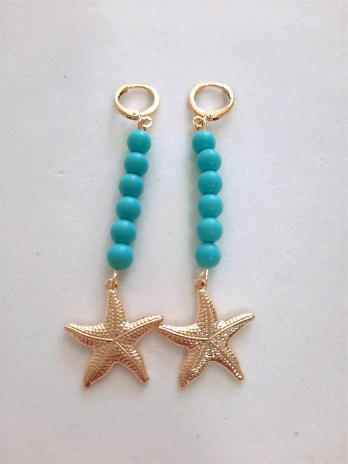 Brinco Argola Charms Bolas Coloridas Azuis com Estrela do Mar