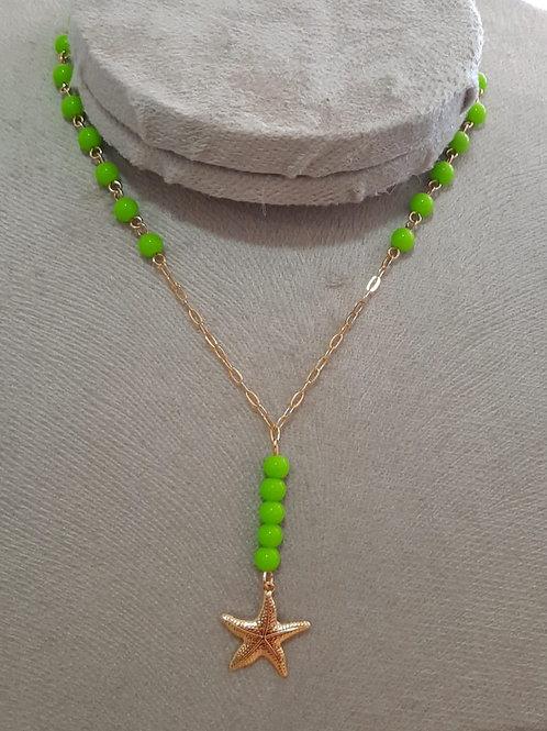 Colar Estrela do Mar com Bolas Coloridas Verdes