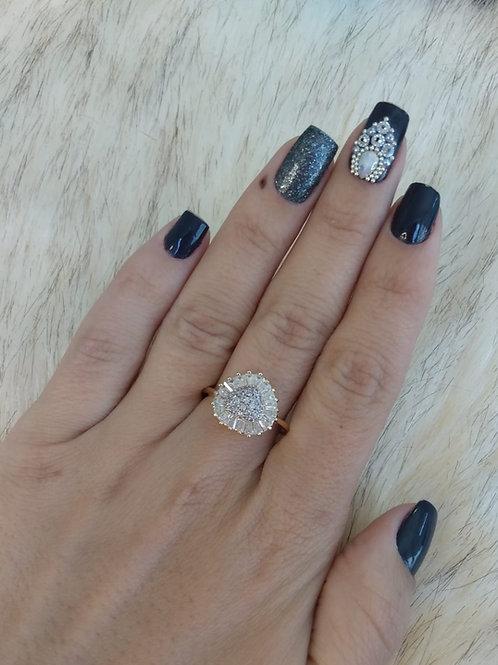 Anel Luxo Coração em Pedraria Cristal