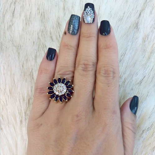 Anel Flor Luxo Pedraria Preta e Cristal Cravejada