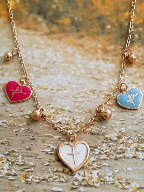 Colar Corações Coloridos Fé com Bolas Douradas