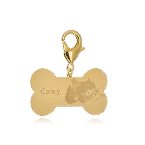 Placa Identificada para Cachorro Fotogravada Folheada e Personalizada c/Nome-PET