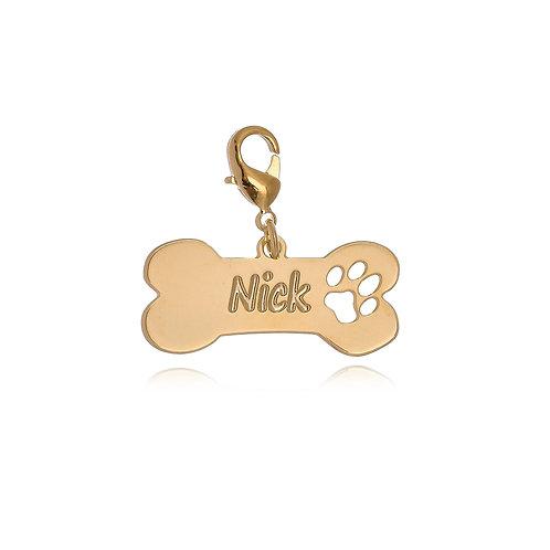 Placa Identificada para Cachorro Folheada e Personalizada com Nome e Desenho