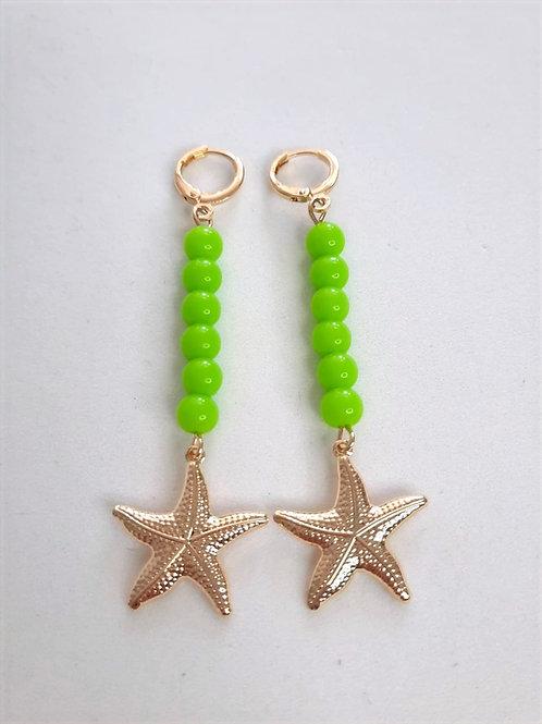 Brinco Argola Charms Bolas Coloridas Verdes com Estrela do Mar