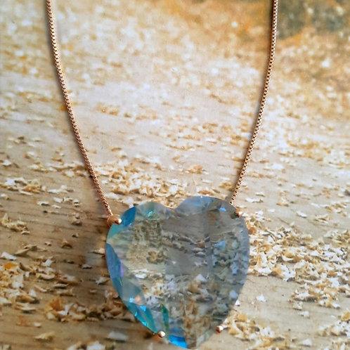 Colar Coração Pedra Fusion Natural