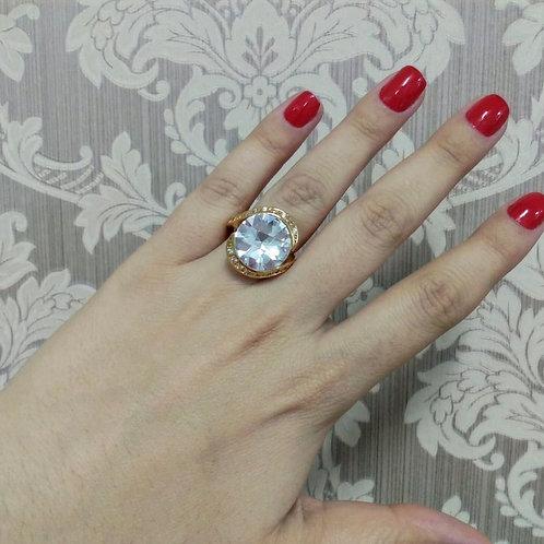 Anel Pedra Circular Cristal Luxo com Zircônia